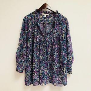 LC Lauren Conrad Blue Floral shirt size L